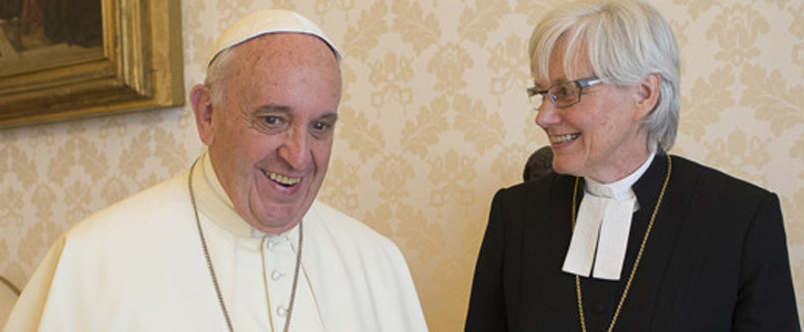 Francis with female Lutheran Archbishop Antje Jackelen
