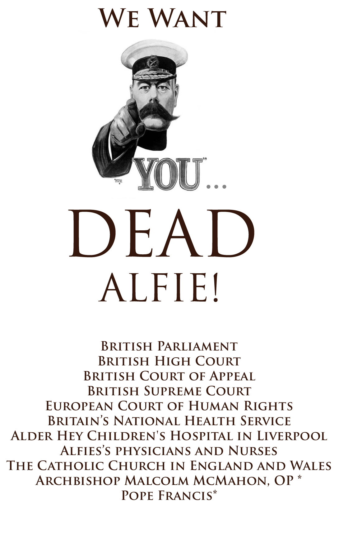 We want you dead, Alfie!